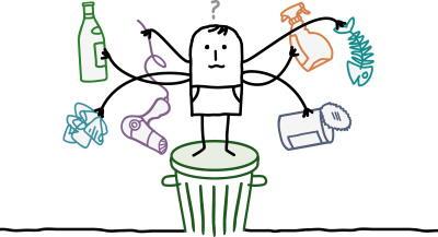 Illustration d'un bonhomme debout sur une poubelle, avec de multiples bras tenant différents types de déchets.