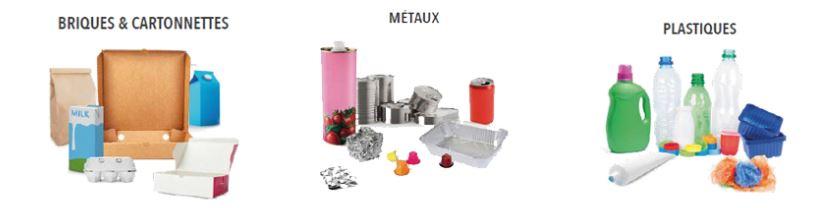 Plusieurs emballages en carton, métal et plastique.