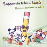 Illustration j'apprends le tri à l'école avec les personnages mascottes d'EcoScola